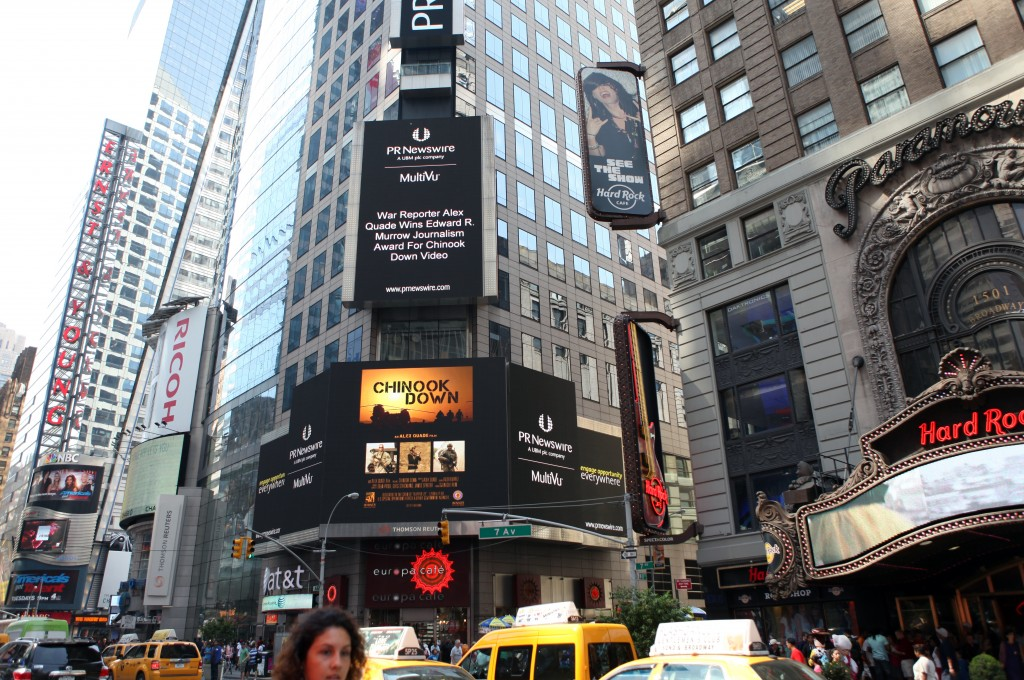 'Chinook Down' announcement seen on Times Square, New York City.