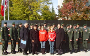 Memorial at Northeastern University in honor of Rob. Bob & Stacey Pirelli in front row. (Photo courtesy of Weapons Sergeant Scott)
